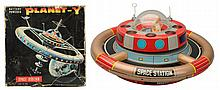 Tin Litho Battery Op. Space Station Planet Y.