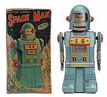 Tin Litho Crank Wind Space Man Robot.