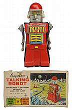Tin Litho & Painted Battery Op. Talking  Robot.