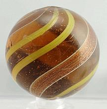 Large Amber Glass Banded Lutz Marble.