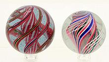 Lot of 2: Large Handmade Swirl Marbles.