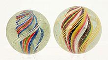 Lot of 2: Handmade Swirl Marbles.