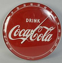 Coca-Cola Clock Thermometer.