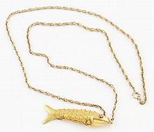 14K YG Fish with Chain.