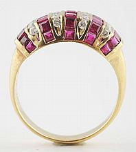 14K YG Diamond & Ruby Ring.