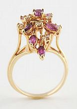14K Gold Diamond & Ruby Ring.