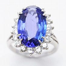 14K W. Gold Diamond & Tanzanite Ring.