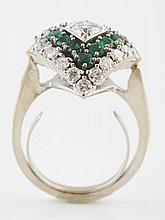 14K White Gold Emerald Ring.