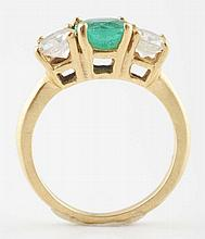 18K YG Emerald & Diamond Ring.