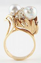 14K YG Pearl & Diamond Ring.