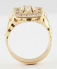14K Yellow Gold Nugget-Finish Diamond Ring.
