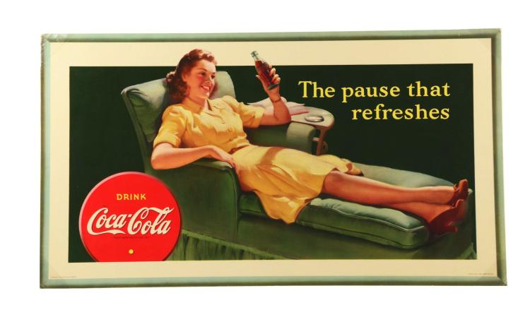 1942 coca cola girl on chaise poster. Black Bedroom Furniture Sets. Home Design Ideas