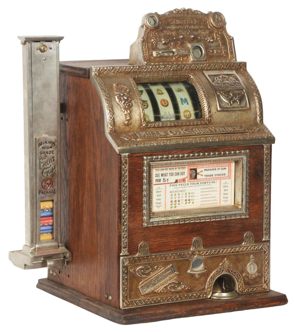 5¢ MILLS OK GUM COUNTER TOP SLOT MACHINE WITH SIDE VENDOR.