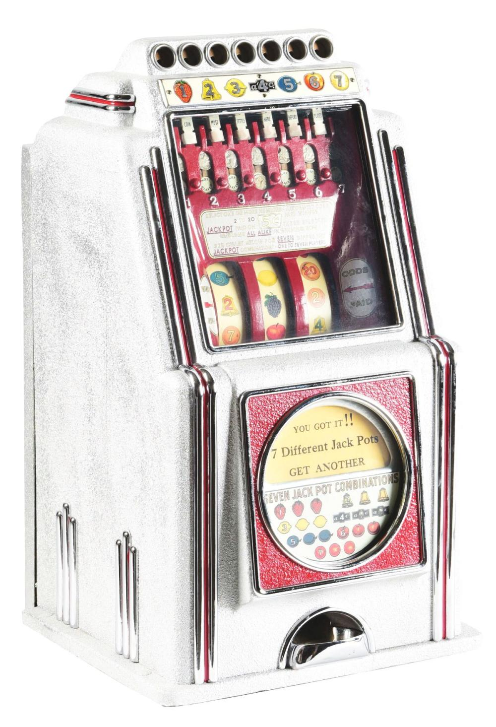 5¢ RARE A. C. NOVELTY MULTI BELL SLOT MACHINE.