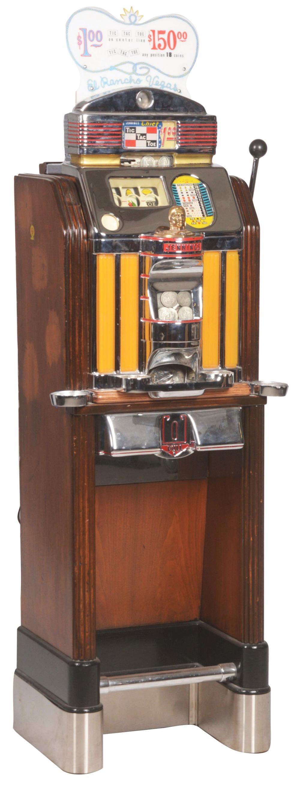 $1 JENNINGS TIC-TAC-TOE CLUB CHIEF LIGHT-UP CONSOLE SLOT.