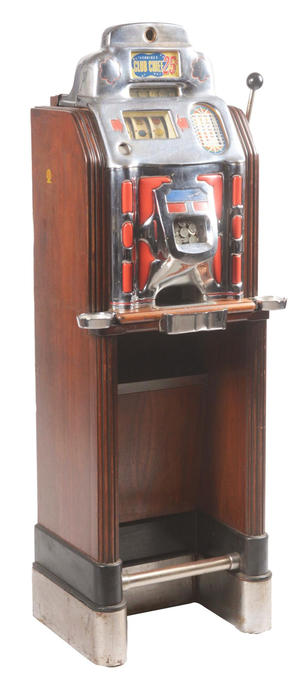 5¢ JENNINGS CLUB CHIEF CONSOLE SLOT MACHINE.