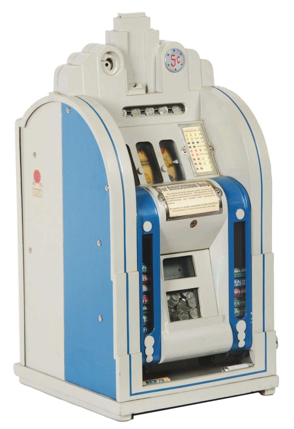 5¢ MILLS VENDER FRONT EXTRAORDINARY SLOT MACHINE.