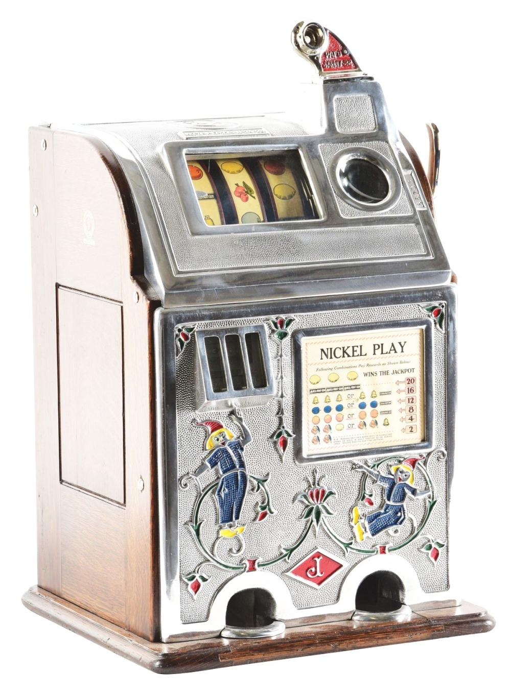 5¢ OD. JENNINGS DUTCH BOY JACKPOT BELL SLOT MACHINE.