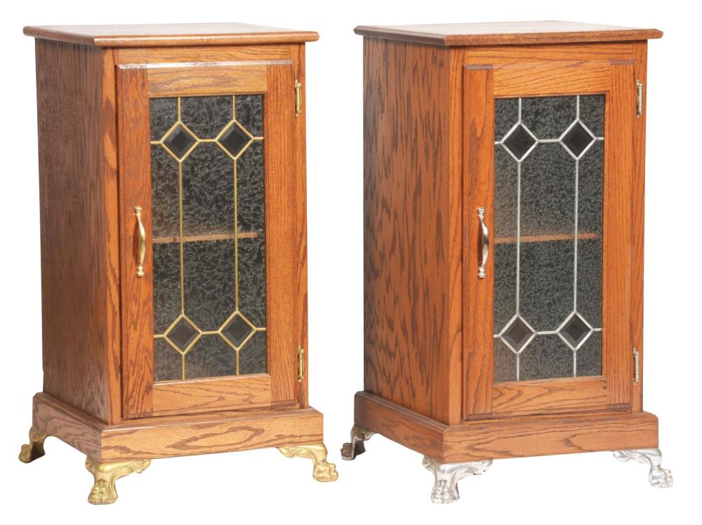 LOT OF 2: OAK SLOT MACHINE STANDS.