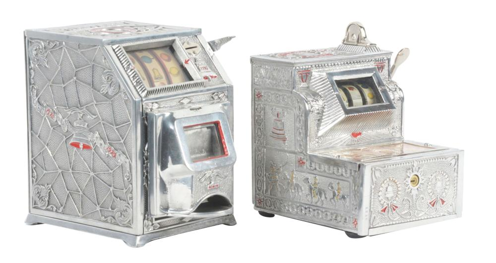 "LOT OF 2: MILLS ""PURITAN BELL"" AND CHICAGO MINT CO. ""PURITAN BABY BELL"" COUNTER GAMBLING MACHINES."