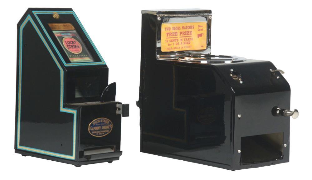 LOT OF 2: CIGARETTE VENDING MACHINE & MATCHES TRADE STIMULATOR.