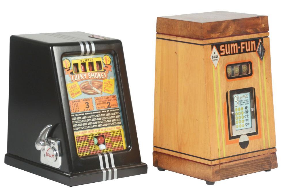 "LOT OF 2: 1¢ ATLAS NOVELTY ""LUCKY SMOKES"" & BALLY ""SUM FUN"" TRADE STIMULATORS."