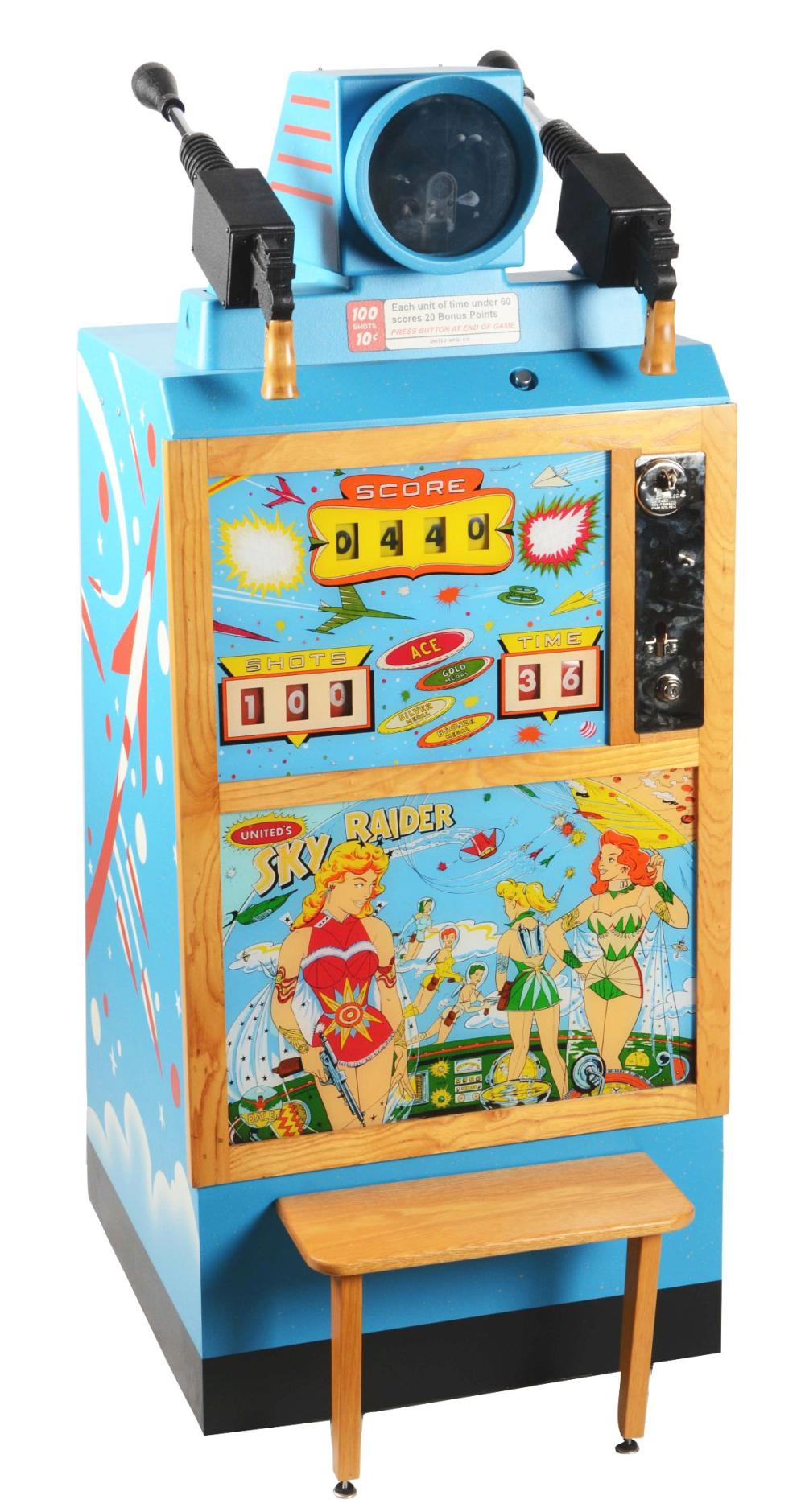 10¢ UNITED SKY RAIDER ARCADE GAME.