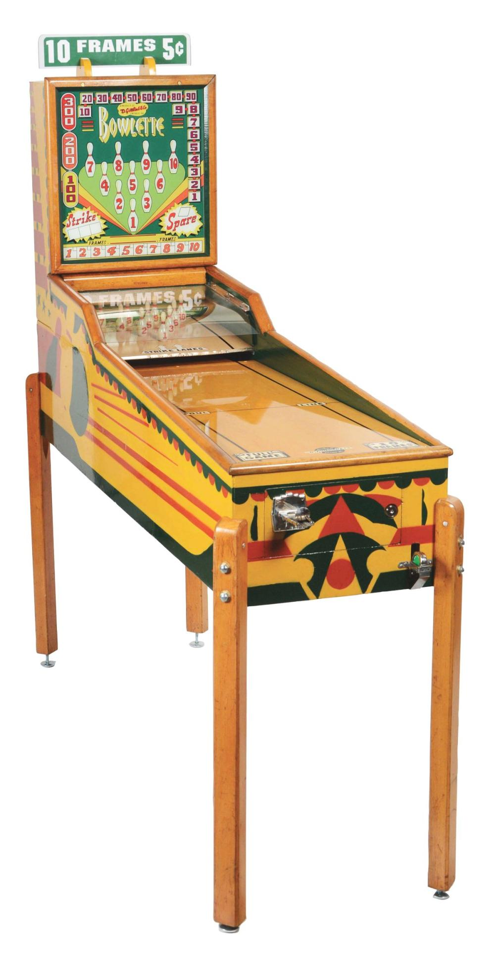 5¢ GOTTLIEB & CO. BOWLETTE BOWLING ARCADE GAME.