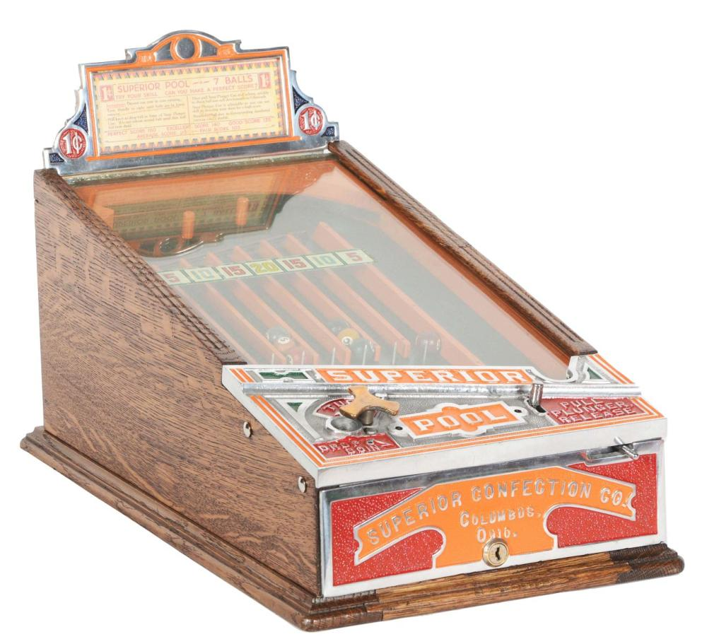 "1¢ KEENEY & SONS ""SUPERIOR POOL"" TABLETOP GAME."