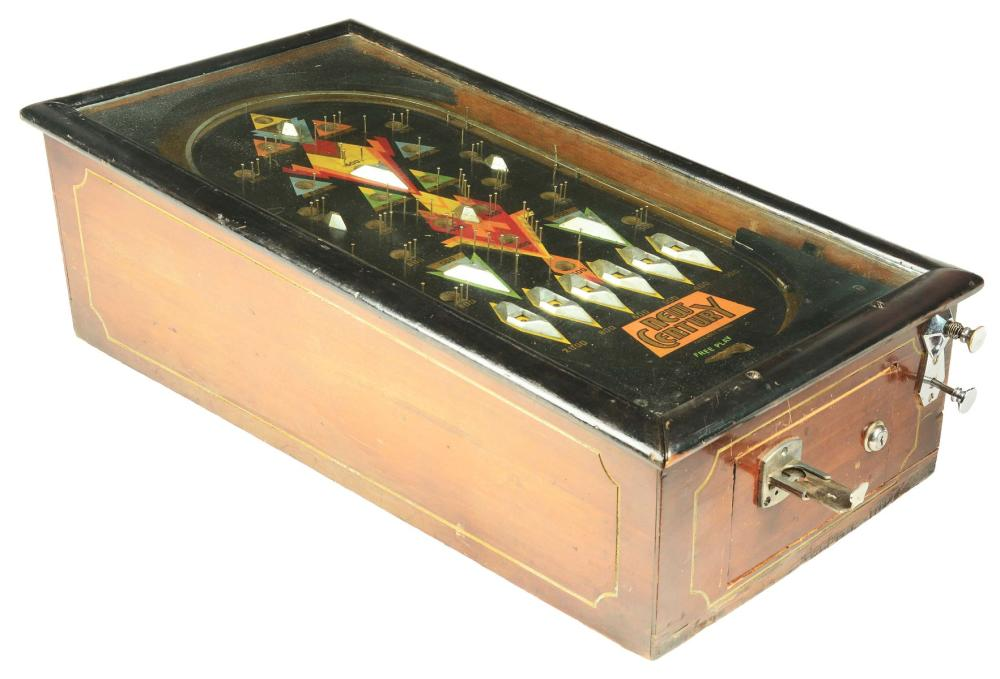 NEW CENTURY WOOD RAIL PINBALL MACHINE.