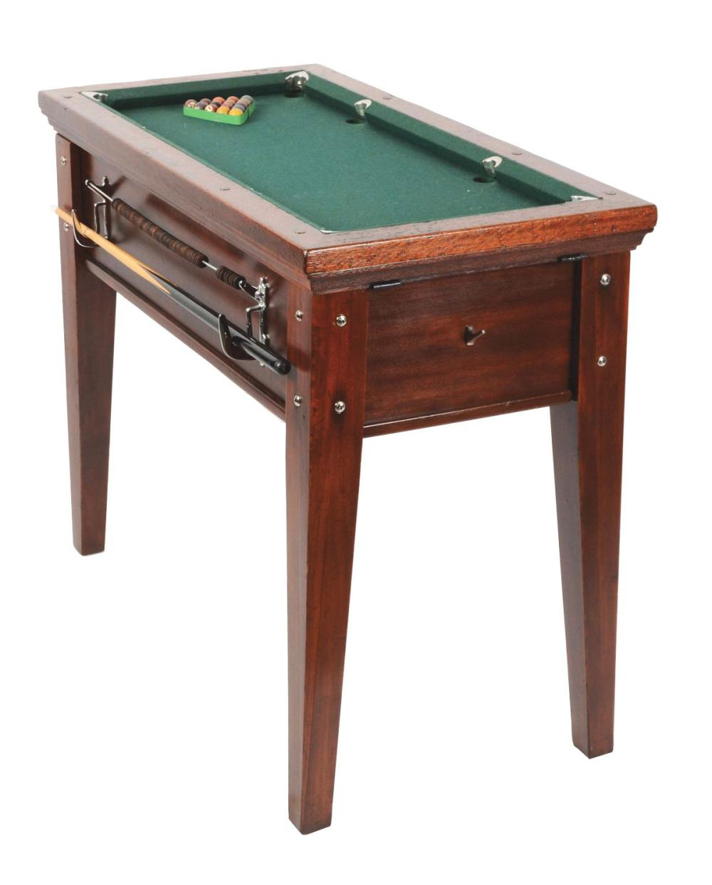 MINIATURE COIN OPERATED POOL TABLE WITH COVER AND SUPPLIES.