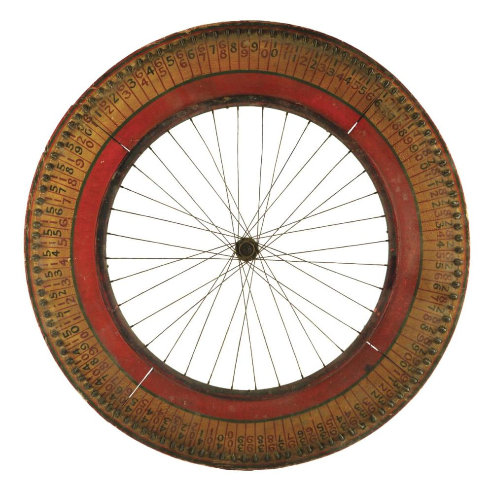 FOLK ART WOODEN GAME WHEEL.