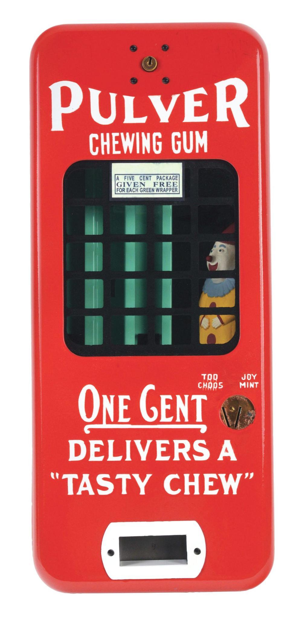 1¢ PULVER GUM MACHINE WITH CLOWN FIGURE.