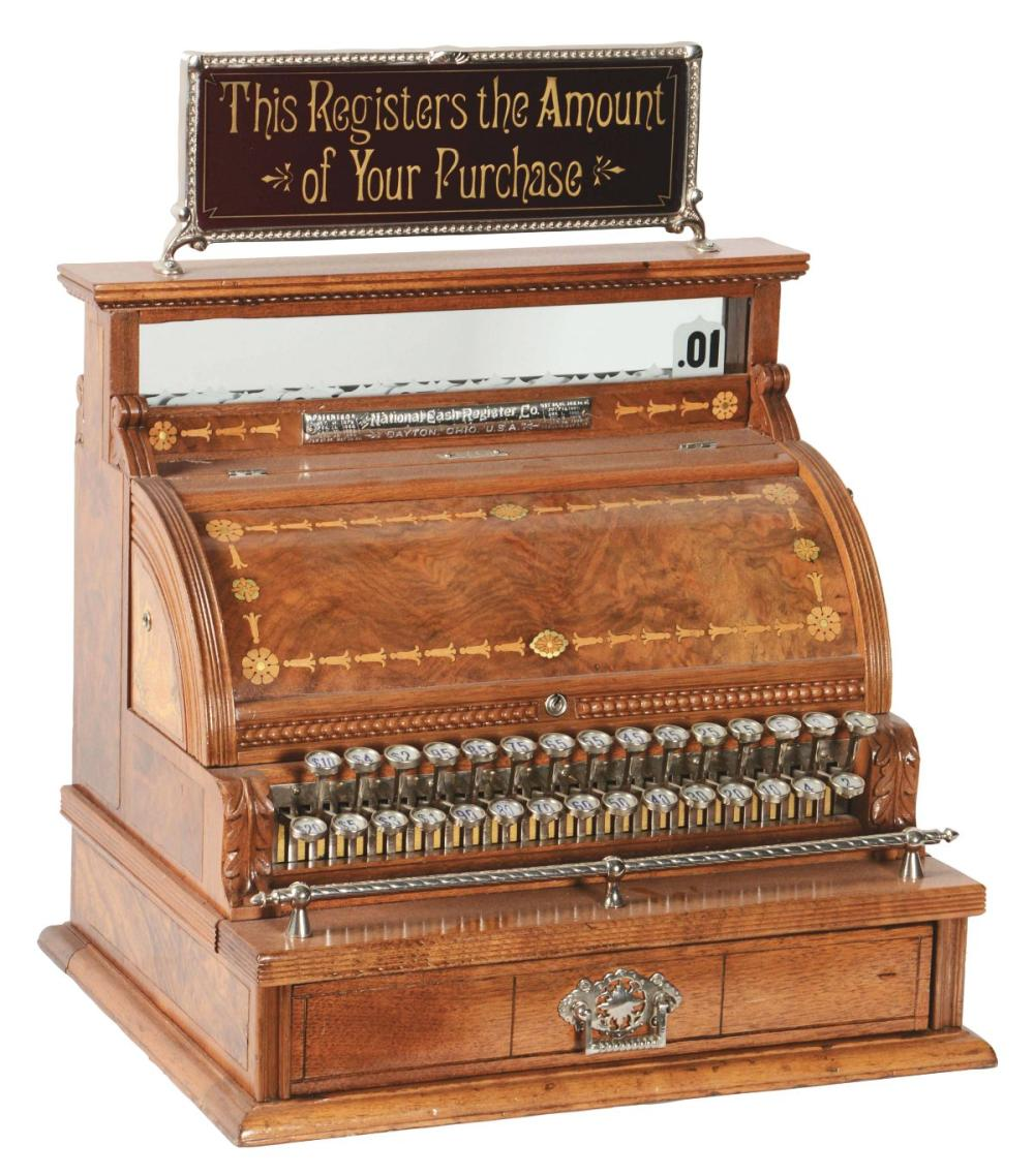 VERY EARLY NATIONAL CASH REGISTER MODEL #3 WITH REPRODUCTION TOP SIGN.