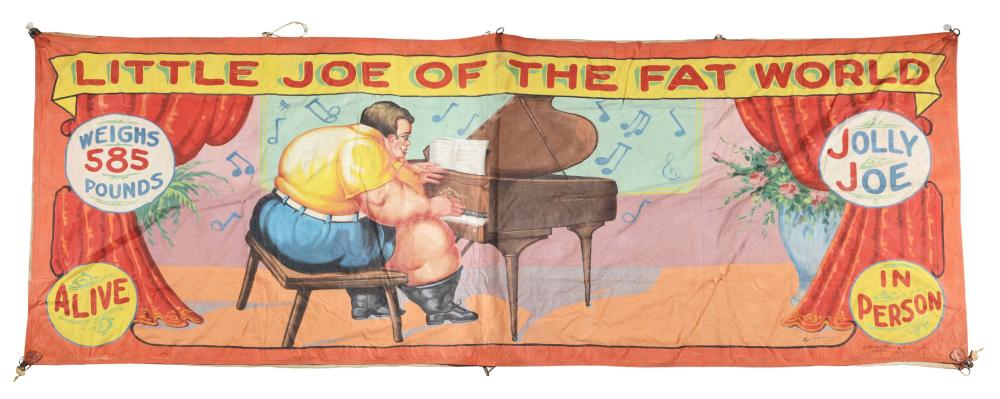 "FRED G. JOHNSON ""LITTLE JOE OF THE FAT WORLD"" CIRCUS BANNER."