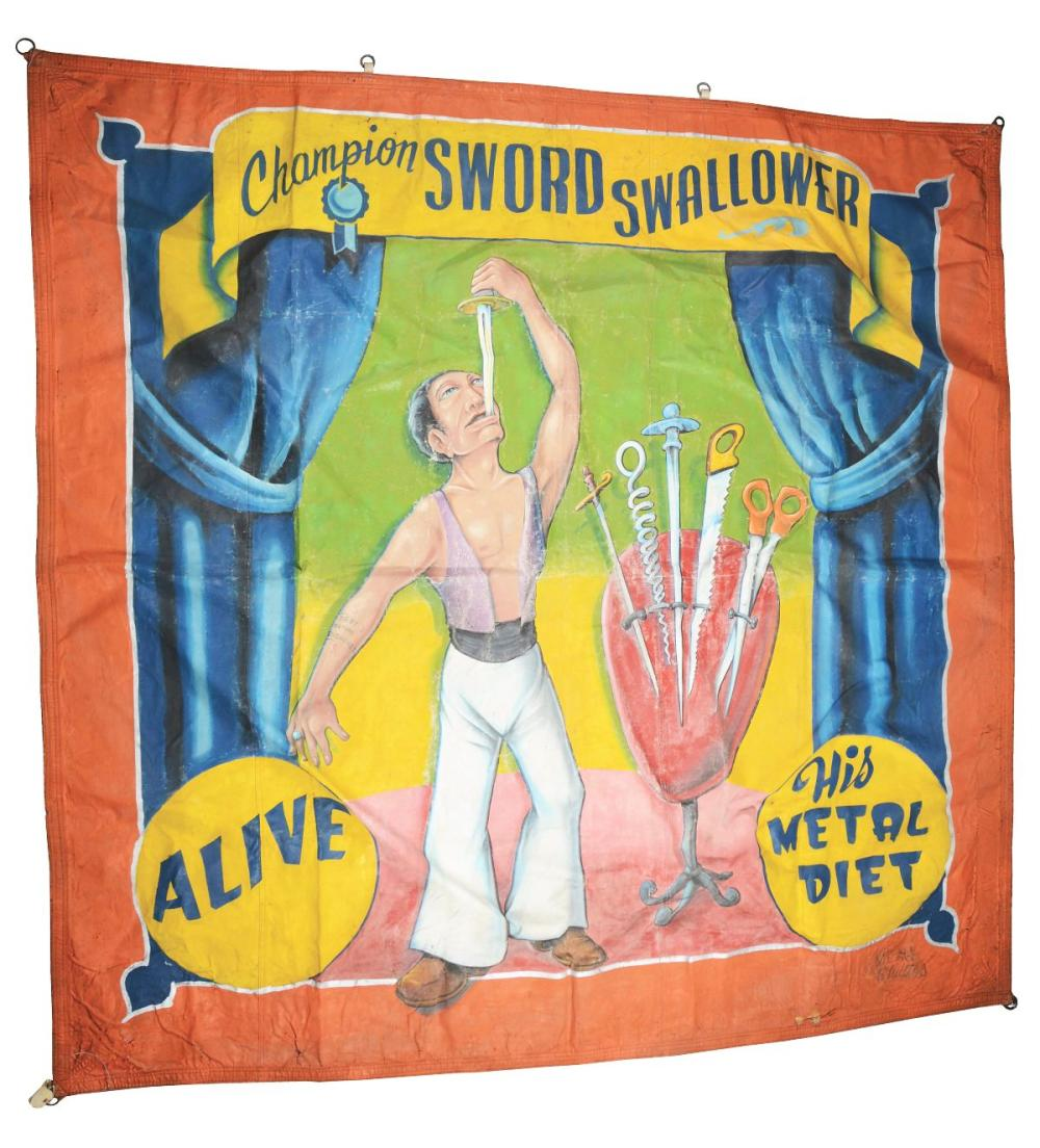 """JOHNNY MEAH """"CHAMPION SWORD SWALLOWER"""" CIRCUS BANNER."""
