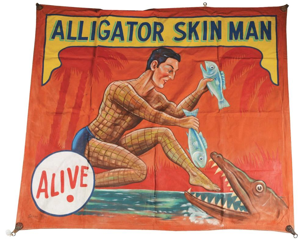 "SNAP WYATT ""ALLIGATOR SKIN MAN"" CIRCUS BANNER."