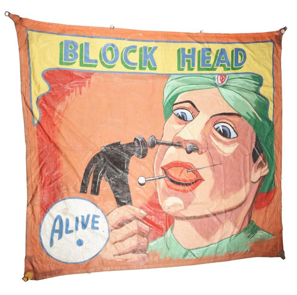 "SNAP WYATT ""BLOCK HEAD"" CIRCUS BANNER."