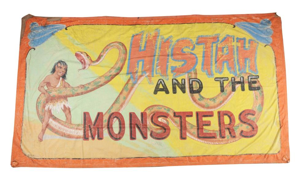 "FRED G. JOHNSON ""HISTAH AND THE MONSTERS"" CIRCUS BANNER."