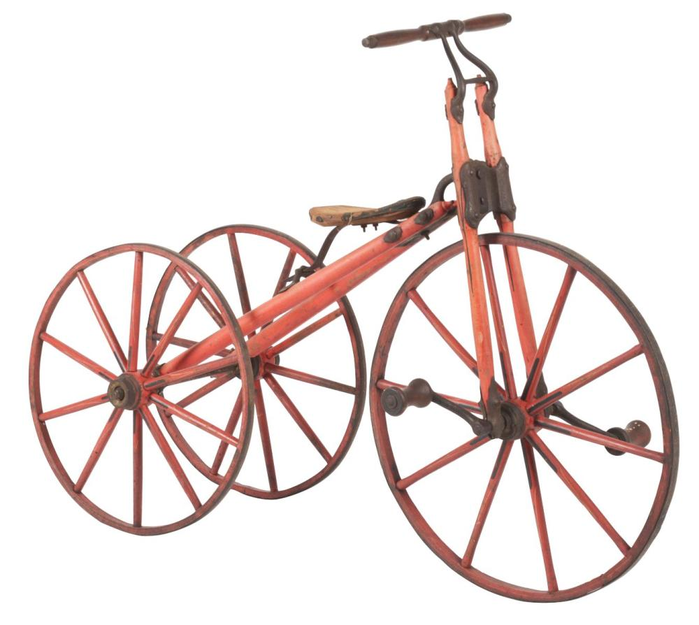 VERY EARLY RED WOODEN TRICYCLE.