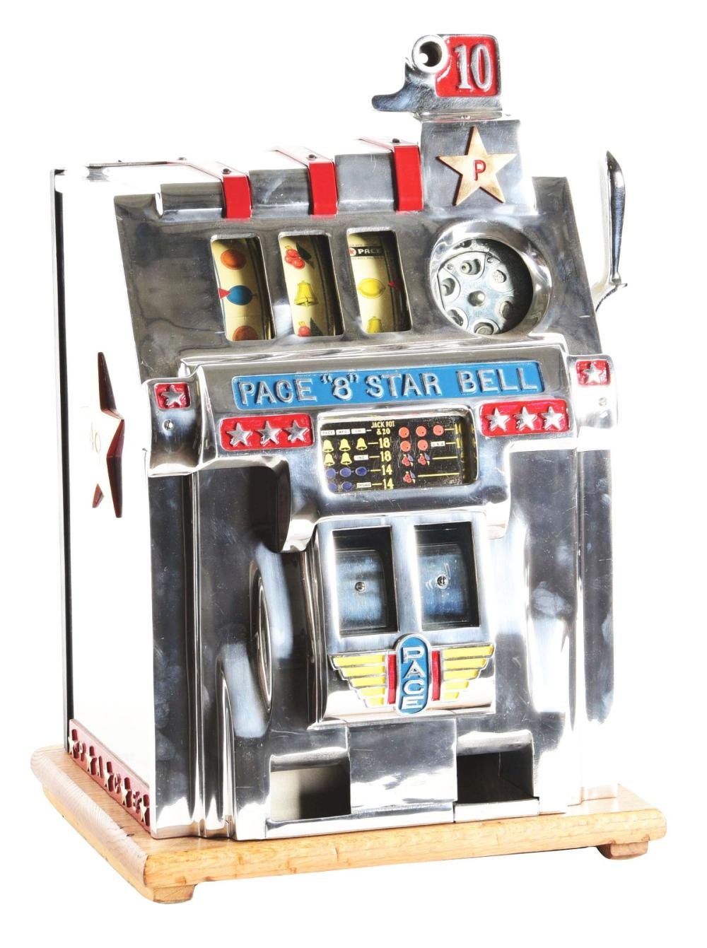 "10¢ PACE MFG. CO. ""8 STAR"" BELL SLOT MACHINE."