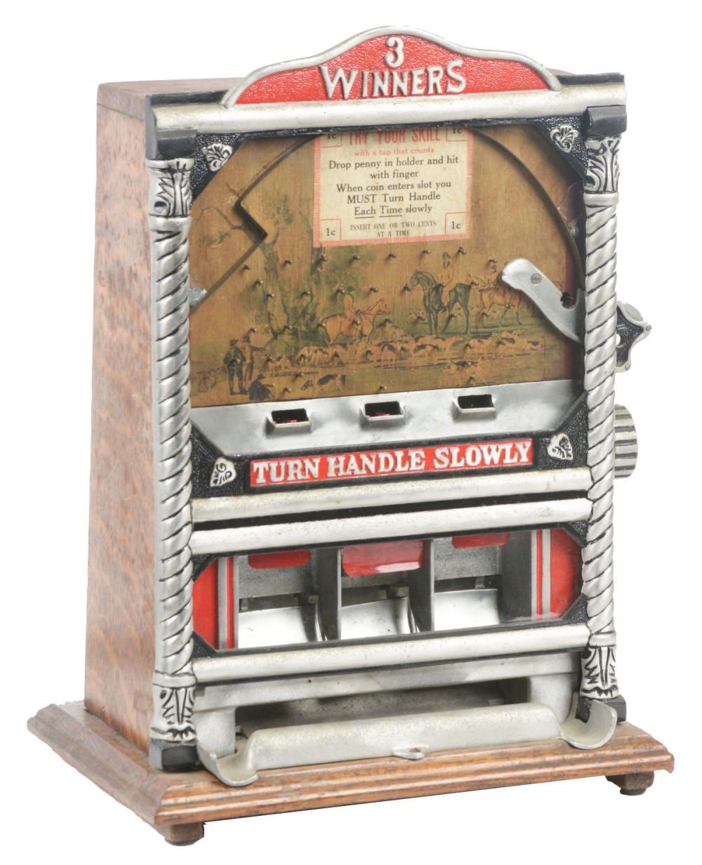 1¢ ROCK-OLA MFG. THREE WINNERS COUNTER POCKET TRADE STIMULATOR.