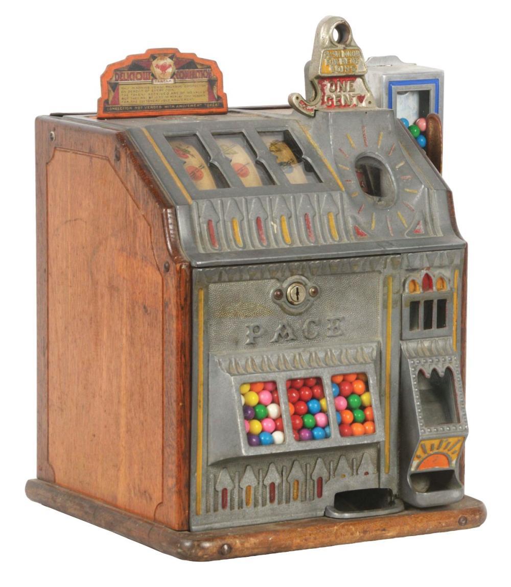 1¢ PACE BANTAM JACKPOT SLOT MACHINE WITH SIDE VENDOR.