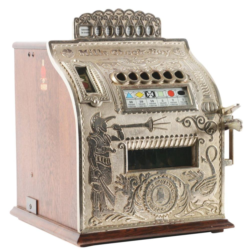 5¢ CAST-IRON MILLS CHECK BOY SLOT MACHINE.