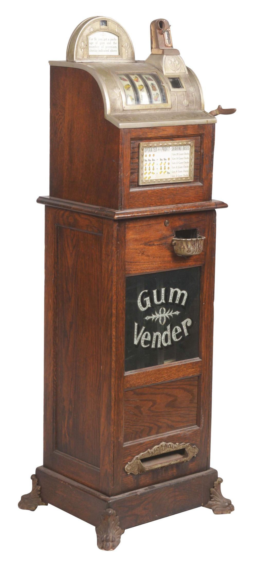 5¢ WATLING AUTOMATIC OK GUM VENDOR SLOT MACHINE.
