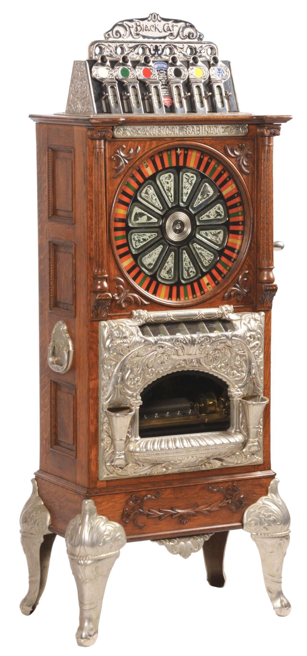 5¢ CAILLE BROTHERS BLACK CAT MUSICAL CABINET UPRIGHT SLOT MACHINE.