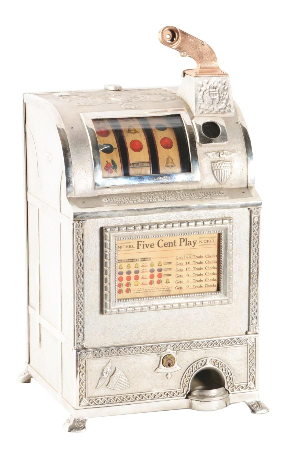 5¢ BURNHAM GUM MACHINE WORKS SLOT MACHINE.