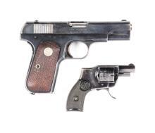(C) Lot Of 2: Colt Model 1903 Semi-Automatic Pistol & Sedgley Folding Trigger Revolver.