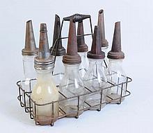 Lot of 8: Glass 1 Quart Bottles in Carrier.