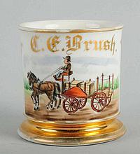 Horse-Drawn Cart Shaving Mug.